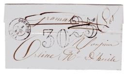Taxe 25 Annulée Remplacée Par Une Taxe 30. Gordon Lot Le 3 Juillet 1854 - Postmark Collection (Covers)