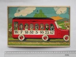 SAUSSINE Editeur: Planche 2 Ancienne Jeu De Société (chromo) - Bus Autocar Chiffre Nombre (loto) - Sin Clasificación