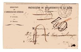 Paris Pour Paris Taxe 25 Annulée Remplacée Par Une Taxe 40 Car Réexpédition. 1872 - Postmark Collection (Covers)