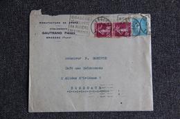 Enveloppe Timbrée Avec Lettre - BRASSAC, Manufacture De Draps, Etablissements GAUTRAND Frères - Lettres & Documents