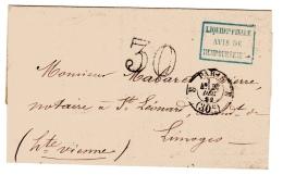 Paris Pour Limoges Cachet De Taxe 30 Bureau E Confirmé Par Une Taxe 30 Double Trait - Postmark Collection (Covers)