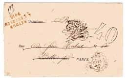 Paris Pour Paris 25 Septembre 1871 Taxe 25 Remplacée Par Une Taxe 40 (Levallois Est Un Bureau Distinct) - Postmark Collection (Covers)