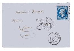 Vendome Loir Et Cher Taxe 3à Annulée Par Le Losange PMT (ambulant Paris à Montargis) - Postmark Collection (Covers)