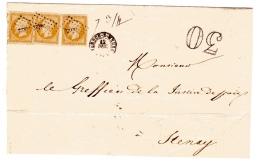 Verdun Sur Meuse Lettre Insuffisamment Affranchie (trois 10c N°13) - Postmark Collection (Covers)