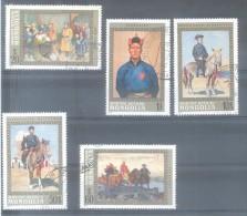 MONGOLIA COMPLETE SET YVERT NRS.  638-642 AÑO 1972 HEROS DE LA NATION HEROES DE LA NACION  POLYCHROMES POLICROMOS