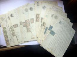 TIMBRES DE DIMENSION  LOT DE 59 TIMBRES DE DIMENSION  TIMBRES COPIE ET DECHARGES  SUR DOCUMENTS 1880 - Fiscaux