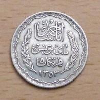 TUNISIE 5 FRANCS 1934 (AH 1353) EN ARGENT - Túnez