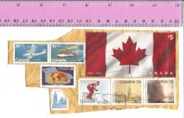 Timbres Sur Fragment : CANADA -  Drapeau - 1er Timbre En Tissu 2015 - Oblitéré + Autres Offerts - Used Stamps