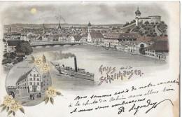 GRUSS AUS SCHAFFHAUSEN →schöne Mehrbild-Lithokarte Anno 1906 - SH Schaffhouse