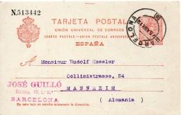Espagne Entier Postal Pour L'Allemagne 1912