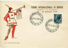 13601 Italia, Special Postmark 1954 Rimini San Marino International Bridge Turnier,  Torneo Bridge - - Giochi
