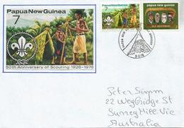 PAPUA NEW-GUNEA.PAPOUASIE. 50 Ans Du Scoutisme En Papouasie, Lettre Adressée En Australie - Papouasie-Nouvelle-Guinée