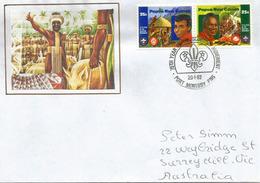 PAPUA NEW-GUNEA.PAPOUASIE. 75 Ans Du Mouvement Scout En Papouasie, Lettre Adressée En Australie - Lettres & Documents