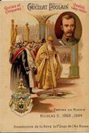 Chromo Ancien Russie Russia Le Tsar Nicolas II Gaufré 10,5 X 7 Chocolat Poulain - Poulain