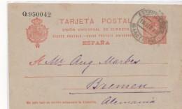3070 Entero Postal    Barcelona 1913, Estación M Z A  Nº 53 Alfonso Xlll
