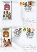 PAPOUASIE.Girl Guides Scouts (cinquantenaire De Leur Foundation En Papouasie) Deux Lettres Spéciales Adressées Australie - Lettres & Documents