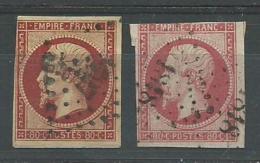 FRANCE: Obl. N°17A + 17Ab, Belles Nuances - 1853-1860 Napoléon III.