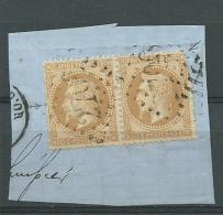 FRANCE: Obl., N°28B X 2, Paire Sur Frgt Av. VARIETE Tp Gauche Point Blanc Devant Le Nez, B/TB - 1863-1870 Napoléon III Lauré