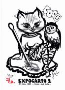 CPM (38) RIVES Sur FURE Carte De Salon Chouette Chat Humanisé CONCORDE Carte à Jouer Tirage Limité JIHEL / LARDIE - Lardie