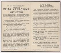 DP Elisa VANTOMME - Bekaert - Bissegem - 1868 / 1953 - Obituary Notices
