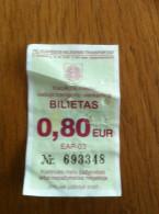 Lithuania Bus Ticket One-way Ticket Klaipeda 2015 - Europe