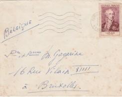 Yvert 1031 Laplace Seul Sur Lettre Périgueux Dordogne 19/10/1955 Pour Bruxelles Belgique - France