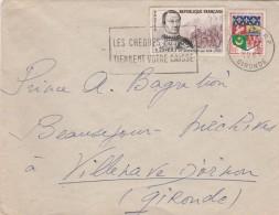 Yvert 1295 Du Guesclin + 1230A Oran Sur Lettre Flamme Bordeaux Gironde 30/6/1961 Pour Méchives - France