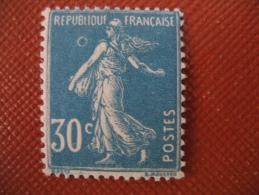 Variété Semeuse 30 Ct Bleu N° 192 , Anneau Lune TB Neuf * - Curiosities: 1921-30 Mint/hinged