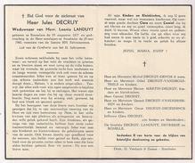 DP Jules DECRUY - Landuyt - Roeselare - Rumbeke - 1877 / 1960 - Décès