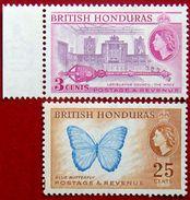 BRITISH HONDURAS 1953 3c,25c Queen Elizabeth II MLH Scott146a,151 CV$8 - Honduras Britannique (...-1970)