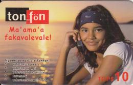 TONGA - Girl On Phone, TonFon Prepaid Card TOP$10, Used