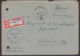 Feldpost Einschreiben Deutsches Reich 1944, Feldpost-R-Zettel, Aktenlochung Nach Schönebeck - Briefe U. Dokumente