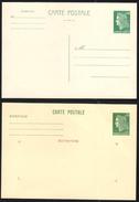 FRANCE 1969-73 MARIANNE DE CHEFFER ENTIERS YT N° 1611-CP1 Et CP2 0,60 VERT, CARTES POSTALES NEUVES - Neufs