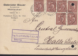 INFLA DR 6x 161 MeF, Auf PK Der Fa. Gebrüder Bauer, Mit Stempel: Mühlacker 22.SEP 1922 - Infla