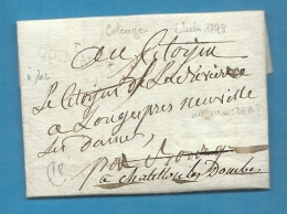 Ain - Collonges Pour Bourg Puis Chatillon Les Dombes. Au Verso, Déboursé - Marcophilie (Lettres)