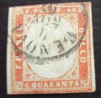 FIRMATO Rialtofil, 40c. Rosso Scarlatto Chiaro Del 1857 - Sardaigne