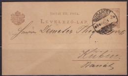 8243. Hungary 1888 Postal Stationery From Budapest To Kubin (Kovin) - Postal Stationery