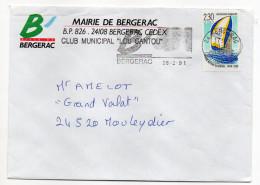 """1991--tp"""" Postiers Autour Du Monde-Bateau """" Seul Sur Lettre-flamme Bergerac-24-enveloppe Mairie Bergerac - Storia Postale"""