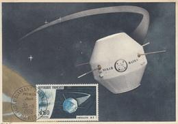 FRANCIA - Cartolina E Francobollo FDC Dedicati Al Satellite Sperimentale A1 - FDC  30/11/1965 - Cartes-Maximum
