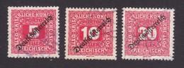 Austria, Scott #J64-J65, J67, Used, Postage Due Overprinted, Issued 1919 - Postage Due