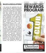 Deerfoot Inn & Casino Calgary, Alberta CANADA - Paper Rewards Program Rules & Regulations Sheet - Advertising