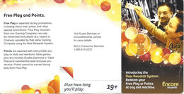 BCLC British Columbia Lottery Comission - Encore Rewards Instruction Card - Casino Cards