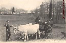 LOURDES TYPES DES PYRENEES ATTELAGE BOVINS AGRICULTURE FERME METIER BOEUFS 65 - Lourdes