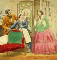 Royaume Uni Scene De Genre An Awkward Interruption Ancienne Photo Stereo Colorisé 1865 - Stereoscopic