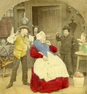 Royaume Uni Scene De Genre The Coming Storm Ancienne Photo Stereo Colorisé 1865 - Stereoscopic