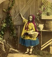 Royaume Uni Scene De Genre Little Red Riding Hood Chaperon Rouge Ancienne Photo Stereo Colorisé 1865 - Stereoscopic