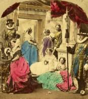 Royaume Uni Scene De Genre Fantaisie Photographique Ancienne Photo Stereo Colorisé Elliott 1865 - Stereoscopic