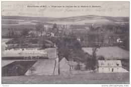 76) ENVIRONS D'EU. VUE SUR LA VALLEE DE BRESLE A MAREST. PASSAGE D'UN TRAIN - France
