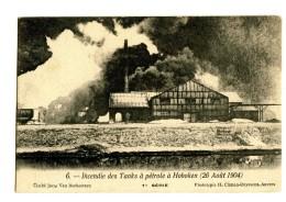18264   -   3 Cartes   -   Incendie Des Tanks à Pétrole à Hoboken ( 26 Août 1904 ) - Rampen