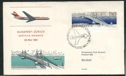 1965 Francia, Primo Volo First Swissair Flight  Budapest -  Zurigo